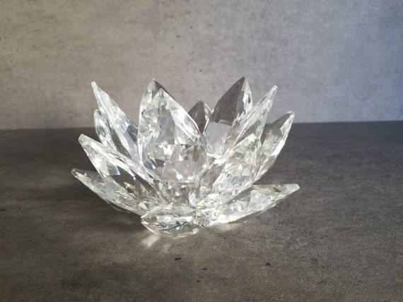 """Silver Plated /& Clear Crystal Lotus Flower 2/"""" Hair Pin"""