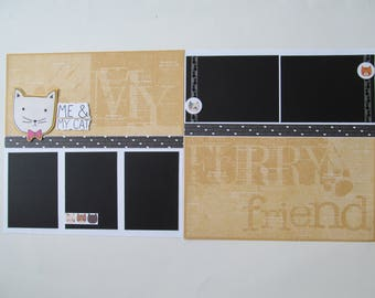 Cat #2 Premade or  DIY Kit,12x12 Scrapbook Layout, Scrapbook Page Kit