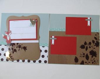 Fox Trott Premade or  DIY Kit,12x12 Scrapbook Layout,  Scrapbook Page Kit