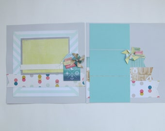 Sunshine and Beachy Premade or DIY Kit,12x12 Scrapbook Layout, Scrapbook Page Kit