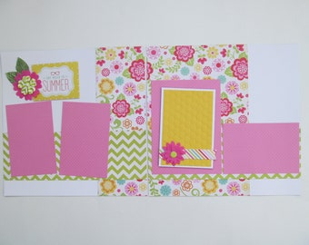 Say Hello To Summer Premade or DIY Kit,12x12 Scrapbook Layout, Scrapbook Page Kit, Project Life, Filofax