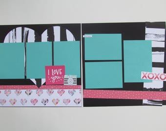 I Love You Premade or DIY Kit,12x12 Scrapbook Layout, Scrapbook Page Kit