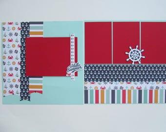 Summer Cruise Premade or DIY Kit,12x12 Scrapbook Layout,Scrapbook Page Kit,