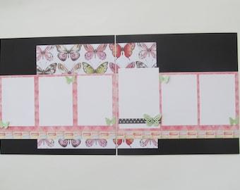 Butterflies Premade or DIY Kit,12x12 Scrapbook Layout, Scrapbook Page Kit