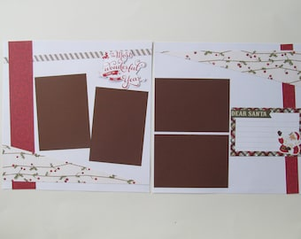 Dear Santa Premade or  DIY Kit,12x12 Scrapbook Layout,  Scrapbook Page Kit
