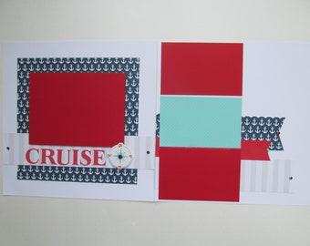 Cruise Away Premade or DIY Kit,12x12 Scrapbook Layout,Scrapbook Page Kit,