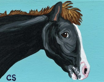 Aceo Horse Print From an Original Painting by Award Winning Artist JOHN SILVER Personally signed HO001AC