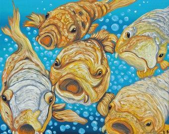 Koi Conversation Original Pond fish Art 8 x 8  Canvas Painting -Carla Smale