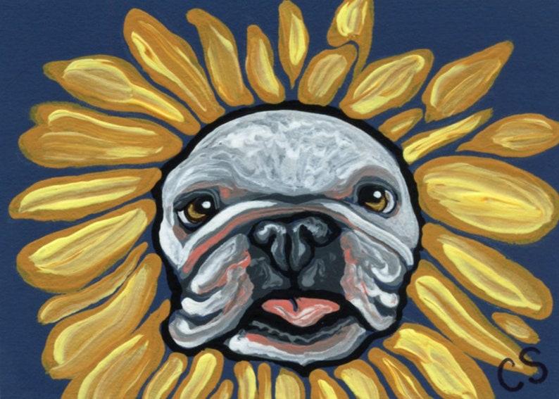 ACEO ATC Halloween English Bulldog Sunflower Original Painting Pet Dog Art-Carla Smale
