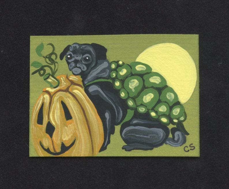 ACEO ATC Halloween Pug Turtle Original Painting Pet Dog Art-Carla Smale