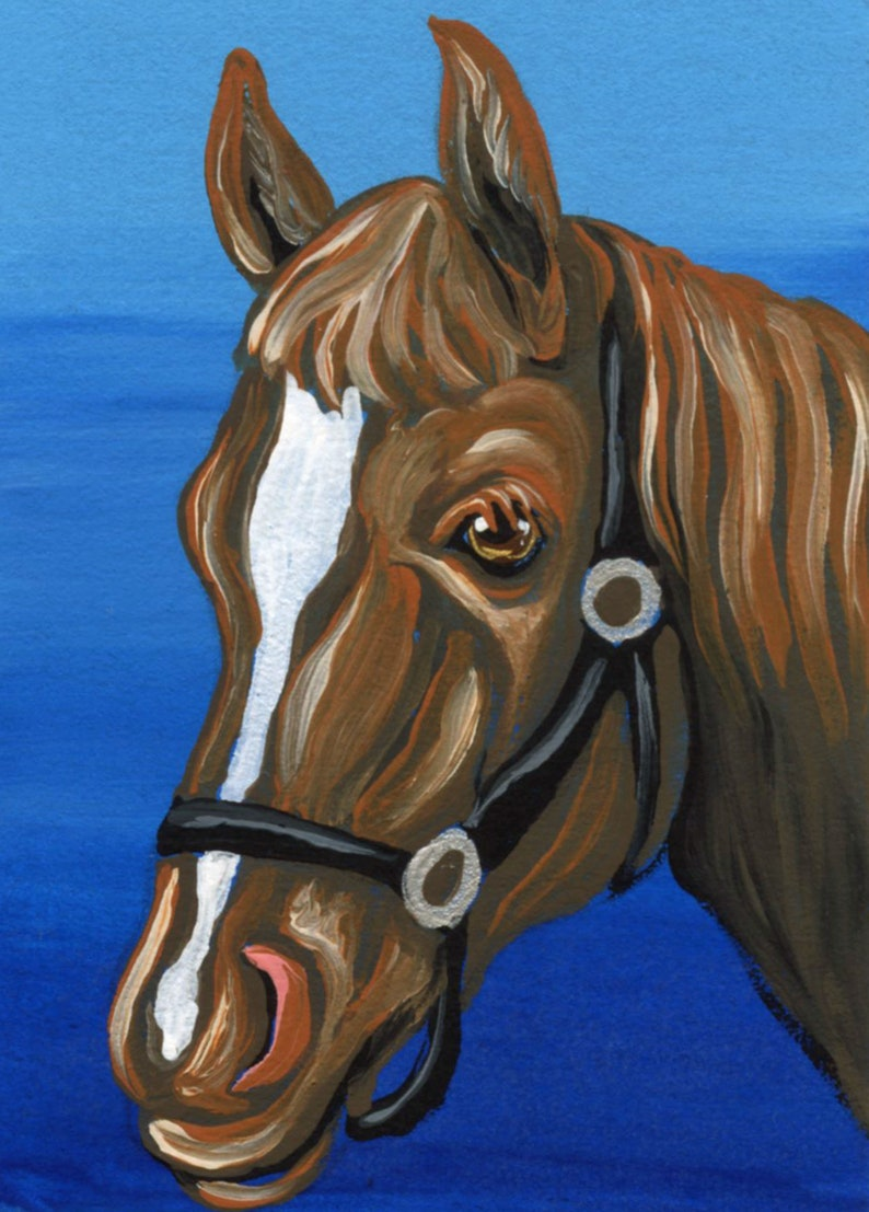 ACEO ATC Red Brown Horse Pony Farmyard Animal Painting Original Art-Carla Smale