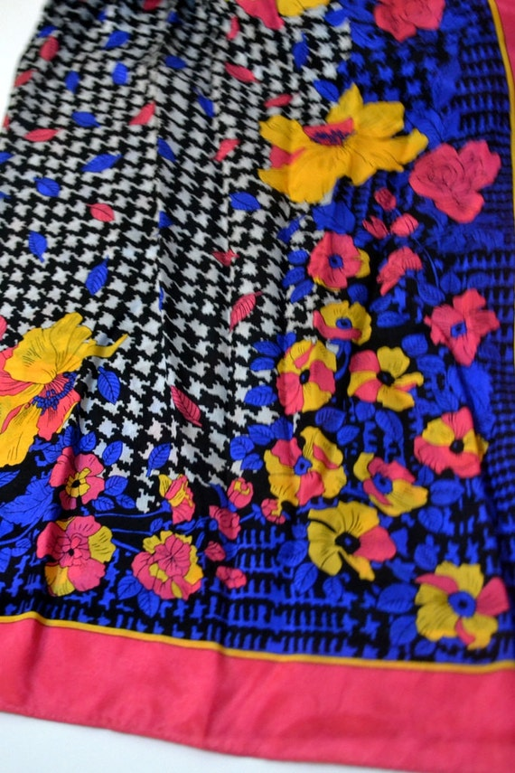 Pink and Yellow Poppies on Blue Silk Scarf....Vint