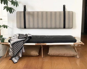 Striped Cotton Wall Mounted Headboard Cushion with Leather Straps - King, Cal King, Queen, Double, Single