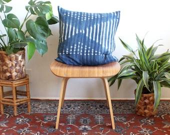 Indigo African Mudcloth Pillow, Geometric Tie Dye Throw Pillow, Square Pillow Cover, Tie Dye, Cotton Linen Pillow, 20 inch, Bohemian Decor