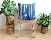 Indigo African Mudcloth, 20 x 20 inch square throw pillow cover, Vintage Tie Dye, Washed Linen back, Rose Gold Zipper, Bohemian Decor