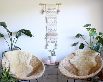 White Mudcloth Wallhanging, Boho Tapestry, Textile Wall Art, Bohemian Tassel Wall Hanging, Fibre Art, Bright Star Buffalo, Norwegian Wood