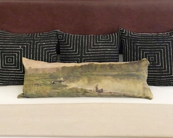 14x36 Skinny Lumbar - Landscape oil painting pillow cover, Handmade in Los Angeles