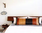 Jumbo Leather Body Pillow Lumbar - Edition 3 - Real Leather, Italian Cowhide, Handmade in Los Angeles, Bourbon, Honey & Black