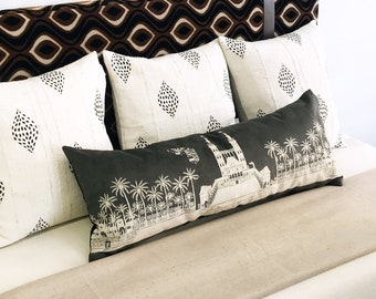 14x36 Skinny Lumbar - Black and White Villa painting pillow cover, Handmade in Los Angeles