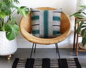 """Jade Green Striped African Mudcloth 20 x 20"""" Square Pillow Cover, Charcoal Gray Striped Pillow, Matte Black Zipper, Washed Linen, made in LA"""
