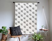 White and Black African Mudcloth Geometric Bars Wallhanging Tapestry with Handmade Wool Tassels - Bohemian Modern Home Decor