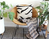 Off White and Black African Mudcloth 20 x 20 Square Pillow with matte black zipper & unbleached natural linen backing - Made in Los Angeles
