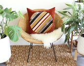Rust Red Velvet Pillow with Pink Mustard and Gray Striped Circle - 20 x 20 inch square - Retro 70s Modern Desert Geometric Pop Art