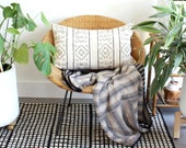 White and Black African Mudcloth Stripes 15 x 25 lumbar pillow - Rose Gold Zipper, Linen Backing