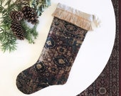 Antique Rug Print Velvet Stocking with Jute Fringe, Boho Christmas Stocking Decor, Vintage Kilim Velvet Holiday Decor