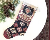 Red and Green Vintage Kilim Rug Print Velvet Stocking, Boho Christmas Stocking Decor, Antique Rug Print Velvet Holiday Decor