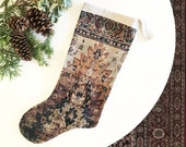 Antique Kilim Rug Print Velvet Stocking, Boho Christmas Stocking Decor, Beige, Rust, Burgundy Velvet Holiday Decor