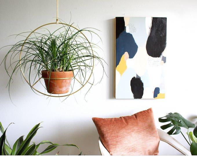 Handmade in LA Brass Plant Hanger, Round Metal Modern Hanging Planter, Mid Century Plant Holder, Minimalist Planter, Boho Home