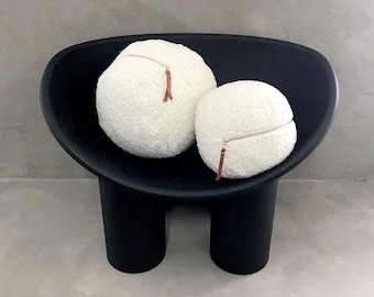 Off White Faux Sheepskin Ball Pillow Set - Two Round Sphere Pillows with Gold Zipper and Leather Puller
