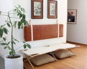 Real Leather Bourbon Headboard Cushion with Leather Straps - King, Queen, Double, Single, Twin