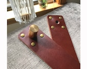 STRAPS ONLY - Leather Strap Set for Hanging Cushion - Cognac Cow Leather Straps