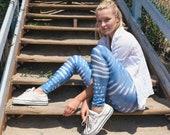Faded Light Indigo Mudcloth Printed Boho Yoga Leggings, XS - S - M - L - XL - Made in Canada, Yoga Pants, Bohemian Clothing, Norwegian Wood
