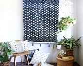 Dark Indigo Polka Dot Mudcloth Wall Tapestry Throw with Border Print Pattern - Indigo tassels