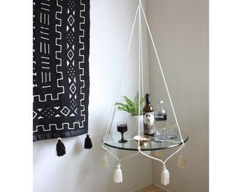 White Hanging Planter frame, Boho Hanging Table, Macrame Plant Hanger, Plant Hanger, Hanging Shelf, Alternative Bar Cart, ROPE FRAME ONLY