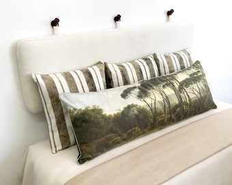 Wall Hung Headboard Cushion with Rings in Off White Mini Boucle  - King, Cal King, Queen, Double, Single