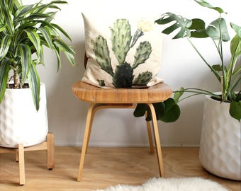 Cactus Pillow, Velvet Throw Pillow Cover, Jungalow Home Decor, Tropical Cacti Pillow, Linen Back Square Throw Pillow, Boho Home Decor