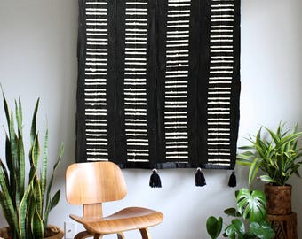 Bars 1 - Black Mudcloth African Wall Hanging, Mud Cloth Large Wallhanging, Pom Pom Throw Blanket, Tassel Tapestry, Bohemian Home Decor