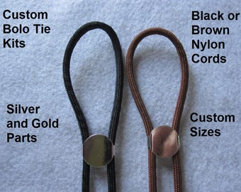 Jewelry Kit ~ Bolo Tie Kit ~ Diy Bolo Necklace Kit~ Custom Bolo Sizes ~ Black Bolo Tie Kit ~ Brown Bolo Tie Kit ~ Custom Sized Bolo Kits