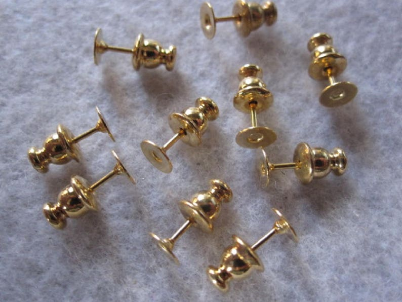 9da679f33a304 Surgical Steel Stud Earring Blanks ~ 10 Piece ~ 5mm Gold Studs ~ Hypo  Allergenic Studs ~ Posts + Backs Included ~ Gold Stud Earring Parts