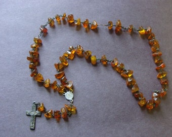 Vintage Natural Baltic Amber Chunky Bead Rosary