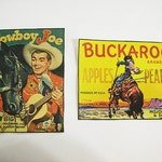 retro cowboy patch set vintage 1950's western buckaroo sew on patch rockabilly kitsch