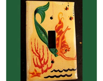 retro mermaid single  switchplate 1950s pin up rockabilly vintage nautical light switch plate