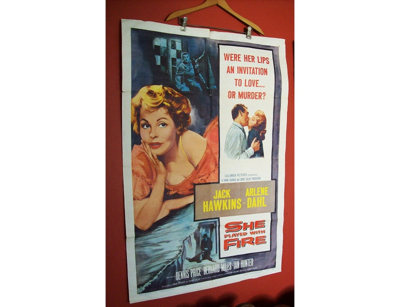 vintage pin up girl movie poster 1958 She Played With Fire image 0