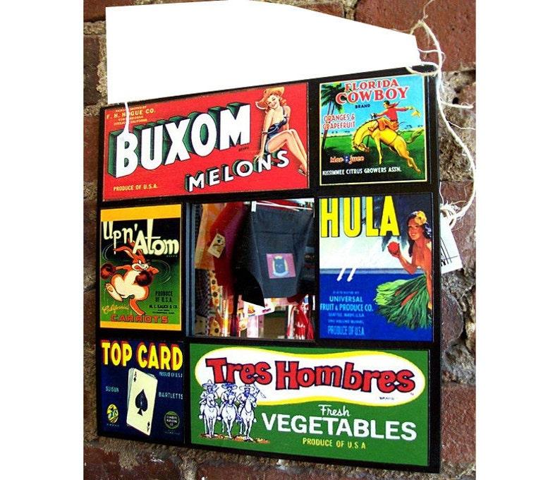 fruit crate label mirror retro advertising vintage pin up girl image 0