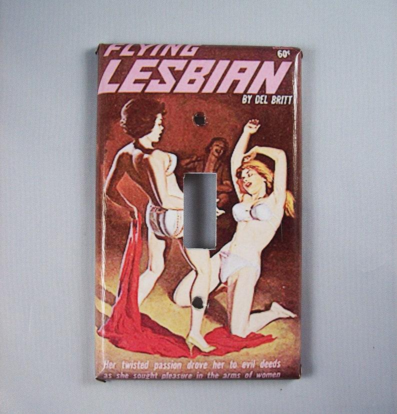 Lesbian pulp switch plate retro vintage paperback art sleaze image 0