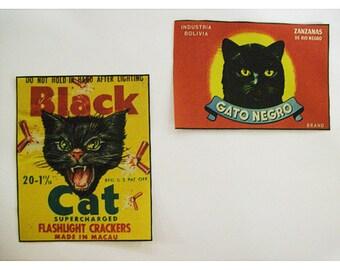 Black cat patch set retro 1950's vintage label Spanish kitsch label sew on patch